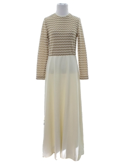 1960's Womens Knit Cocktail Maxi Dress