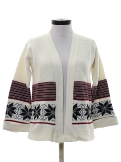 1970's Womens Hippie Snowflake Sweater