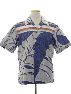 1980's Mens Totally 80s Reverse Print Hawaiian Style Surf Shirt