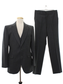 1980's Mens Wool Three Piece Suit