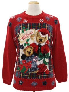 1980's Unisex Bear-riffic Ugly Christmas Sweater