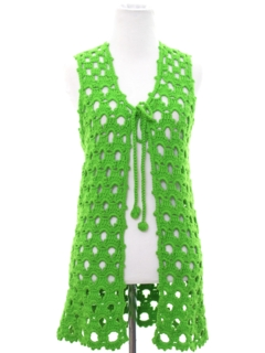 1960's Womens Crocheted Hippie Sweater Vest