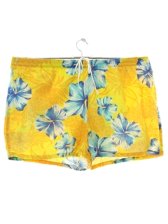 1980's Mens Totally 80s Hawaiian Swim Short Shorts