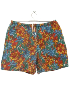 1980's Mens Totally 80s Hawaiian Style Swim Shorts