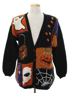 1980's Unisex Cheesy Kitschy Ugly Halloween Cardigan Sweater