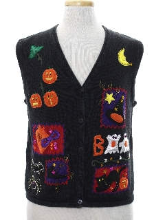 1990's Unisex Cheesy Kitschy Halloween Sweater Vest