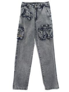1990's Womens Cargo Acid Wash Denim Jeans Pants