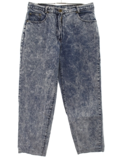 1980's Womens Totally 80s Tapered Leg Acid Wash Denim Jeans Pants