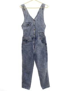 1980's Womens Totally 80s Acid Wash Denim Overalls