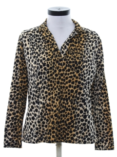 1980's Womens Totally 80s Leopard Print Shirt