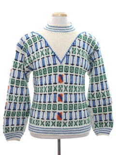 1970's Mens Mod Intarsia Knit Wool Sweater