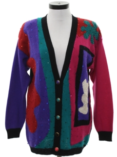 1980's Womens Totally 80s Sequined Cardigan Sweater