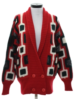 1980's Womens Designer Totally 80s Wool Cardigan Sweater