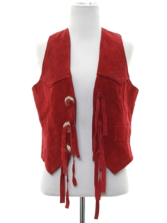 1980's Womens Totally 80s Western Style Suede Leather Vest