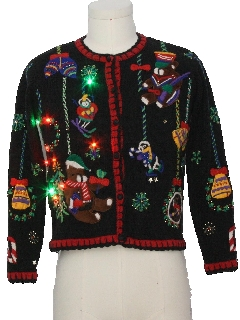 1980's Womens Multicolor Lightup Bear-riffic Ugly Christmas Sweater