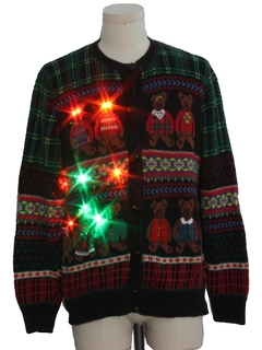 1980's Unisex Multicolor Lightup Country Kitsch Bear-riffic Ugly Christmas Sweater