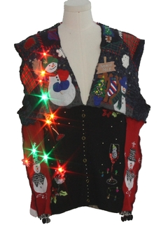 1980's Unisex Hand Embellished Multicolor Lightup Hand Made Patchwork Ugly Christmas Sweater Vest