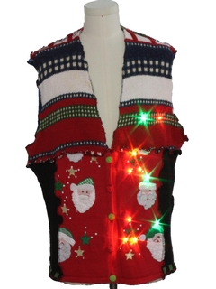 1980's Unisex Multicolor Lightup Hand Made Patchwork Ugly Christmas Sweater Vest