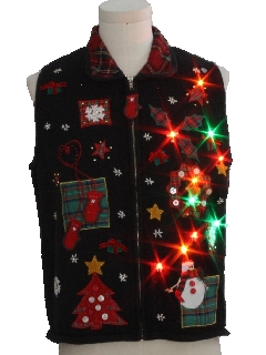 1980's Unisex Multicolor Lightup Country Kitsch Ugly Christmas Sweater Vest