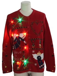 1980's Unisex Multicolor Lightup Country Kitsch Ugly Christmas Sweater