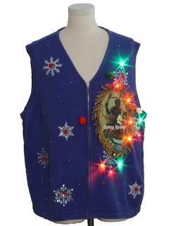 1980's Unisex Multicolor Lightup Krampus Ugly Christmas Sweater Vest