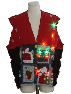 1980's Unisex Hand Made Patchwork Multicolor Lightup Ugly Christmas Sweater Vest