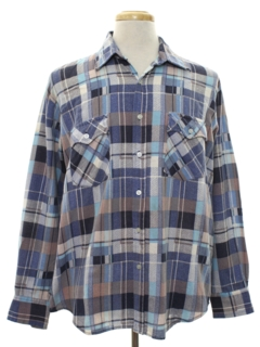 1980's Mens Plaid Grunge Flannel Shirt