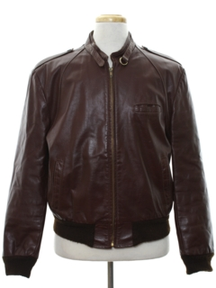 1980's Mens Totally 80s Leather Members Only Style Cafe Racer Jacket