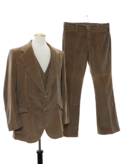 1970's Mens Three Piece Corduroy Disco Suit