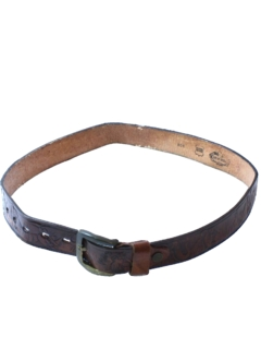 1970's Mens Accessories - Tooled Leather Hippie Belt