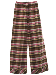 1970's Womens Bellbotttom Style Wide Leg Plaid Flared Pants