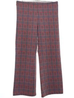 1970's Womens Plaid Knit Flared Pants