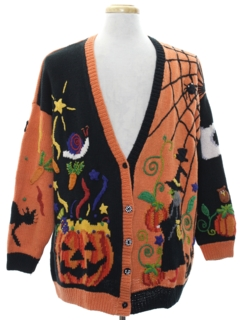 1980's Unisex Cardigan Ugly Halloween Sweater