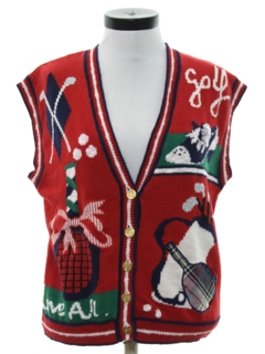 1990's Womens Cheesy Kitschy Ugly Golf Sweater Vest