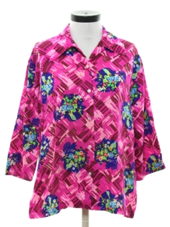 1970's Womens Barkcloth Hawaiian Style Shirt