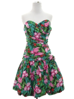 1980's Womens Totally 80s Mini Prom Or Cocktail Dress
