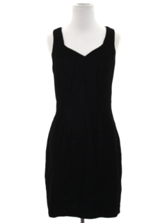 1980's Womens Totally 80s Mini Prom Or Cocktail Velvet Little Black Dress