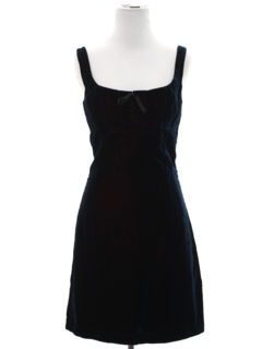 1990's Womens Designer Mini Wiggle Velvet Prom or Cocktail Dress