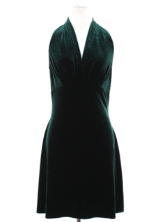 1980's Womens Wicked 90s Mini Prom Or Cocktail Velvet Halter Dress