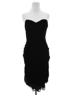 1980's Womens Totally 80s Wiggle Prom or Cocktail Little Black Dress