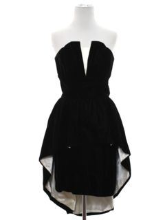 1980's Womens Totally 80s Asymmetrical Prom Or Cocktail Velvet Dress