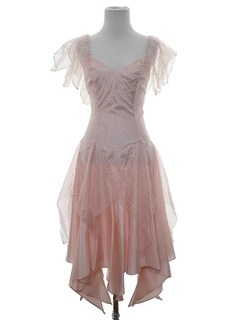 1980's Womens Totally 80s Pretty in Pink Style Prom Or Cocktail Dress