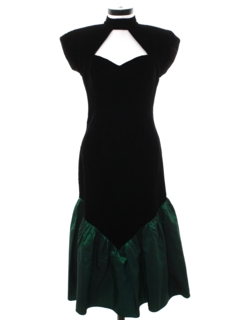 1980's Womens Totally 80s Maxi Wiggle Prom Or Cocktail Velvet Dress