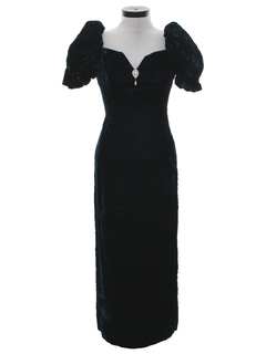 1980's Womens Crushed Velvet Maxi Prom Or Cocktail Dress