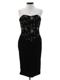 1980's Womens Crushed Velvet Totally 80s Prom Or Cocktail Dress