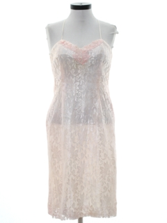 1980's Womens Lace Pretty in Pink Prom Or Cocktail Dress