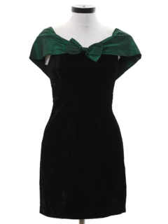 1980's Womens Velvet Totally 80s Mini Prom Or Cocktail Dress