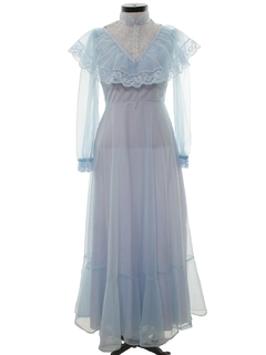 1970's Womens Victorian or Prairie Style Maxi Prom Or Cocktail Dress