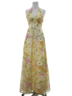 1960's Womens Maxi Prom Or Cocktail Halter Dress
