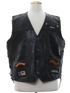 1990's Mens Leather Motorcycle Vest